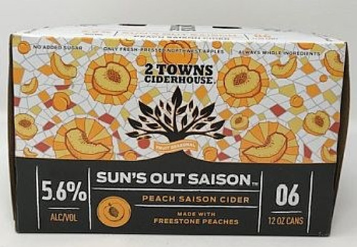 2 Towns Sun's Out Peach Saison Cider is brewed with apples fermented on peaches with a French saison yeast. Tart, dry, spicy and big peach aromatics. This is a nice cider that crosses into the complexity of saison style beers. 5.6% ABV.