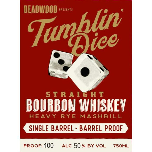 Buy Deadwood Tumblin Dice 4 Year Old Single Barrel Barrel Proof  from sudsandspirits.com and have it shipped to your door nationwide. Deadwood Tumblin Dice 4 year Single Barrel Proof is a straight bourbon whiskey with a heavy rye mashbill that has been aged for 4 years in new charred American Oak barrels. It has a rich, smooth taste. Produced only in small batches, distilled in Indiana and bottled in Kentucky, making it a great all-American bourbon.