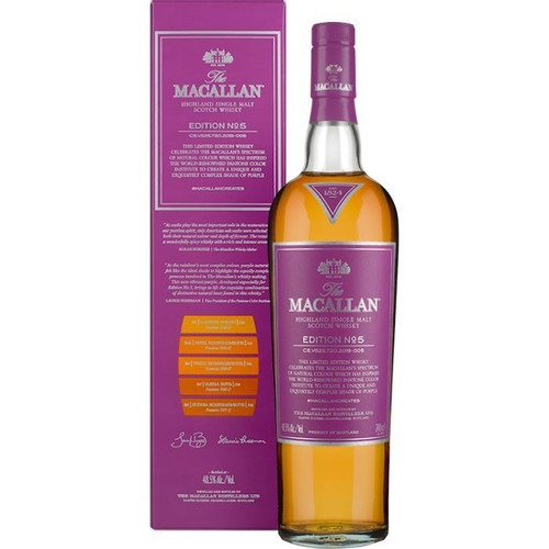 Buy The Macallan Edition No. 5 online at sudsandspirits.com and have it shipped to your door nationwide. The Macallan No. 5 celebrates The Macallan's extensive natural colour spectrum and the intricate whisky making process, in partnership with masters at the Pantone Color Institute™ to create a unique shade of purple that features on the packaging.