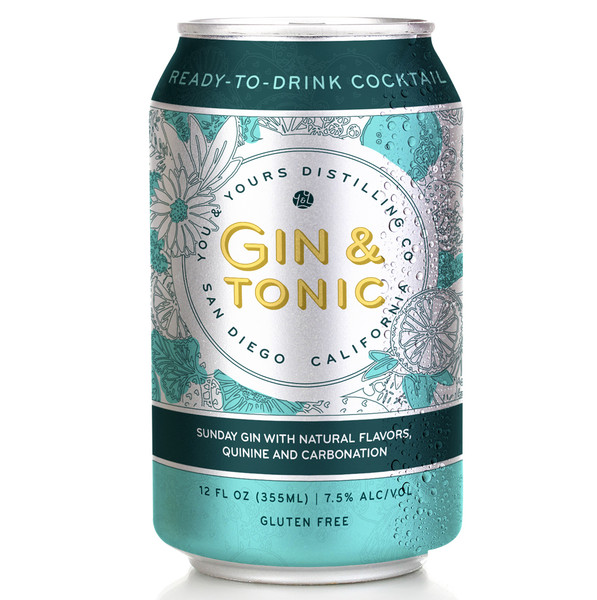 Gin & Tonic (4 Pack - 355ml). Crafted with lazy, cloud gazing in mind, this refreshingly bright Gin & Tonic is brimming with your favorite Southern California flavors. Our signature Sunday Gin with a subtle splash of tart tonic is the perfect pairing of the classic with the now. Made with Gin and natural flavor. Don't mind if I do.