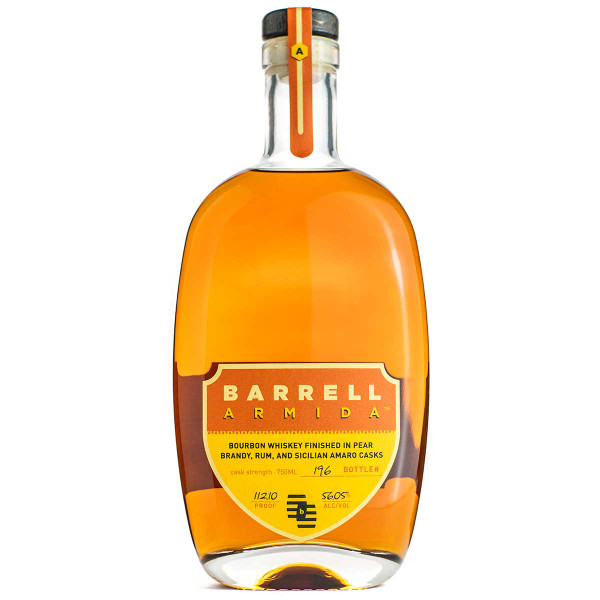 Buy Barrell Armida Bourbon Whiskey online at sudsandspirits.com and have it shipped to your door nationwide. Barrell Armida is a blend of three Straight Bourbon Whiskeys finished separately in Pear Brandy, Jamaican Rum, and Sicilian Amaro Casks.