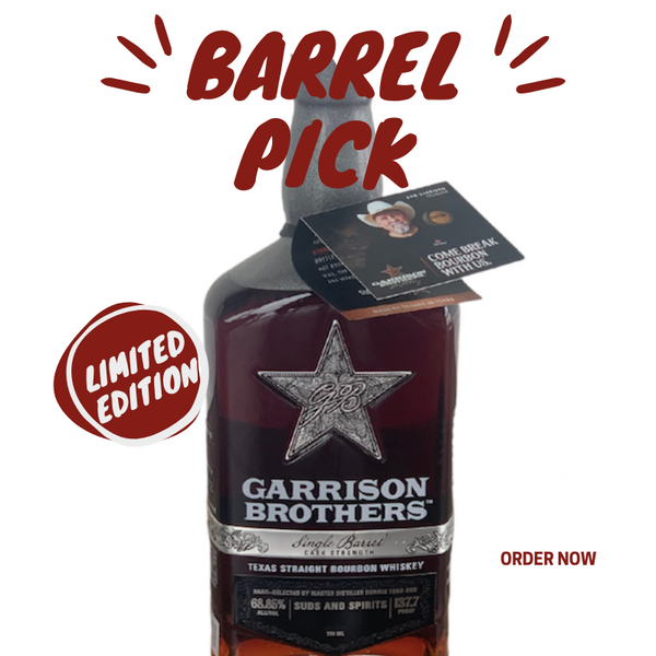 This one-of-a-kindGarrison Brothers, Single Barrel, CaskStrength Bourbon Whiskey has been hand-picked by Suds & Spirits for its distinct personality and PUNCH of explosive flavor.. This limited edition Barrel Pickwill knock your socks off. Barrel #10020 at 137.7 proof andonly 42 bottles made will be the most special giftfor rare whiskey lovers. Expect a beautiful, dark copper colorwith long legs that KICK! Oooooo weee you might need to drink this one on the rocks. You can't go wrong with this spicy strong whiskey barreled South Texas in March 2017. May yousavor andevery drop of such a unique flavor picked by Suds & Spirits...Cheers Friends   Suds & Spirits Barrel Pick 137.7 Proof | 68.85% ALC/VOL