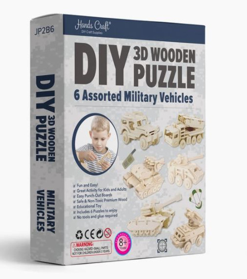 3D Wooden Puzzles; Military Vehicles