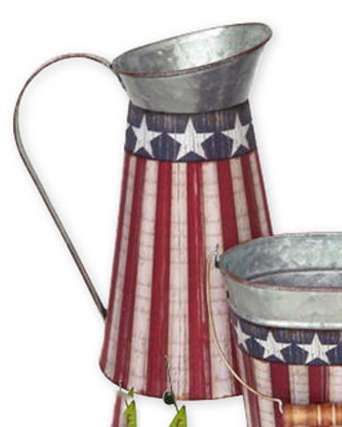 Tin water pitcher - patriotic