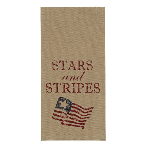 Dish Towel - Tan with Stars and Stripes Text