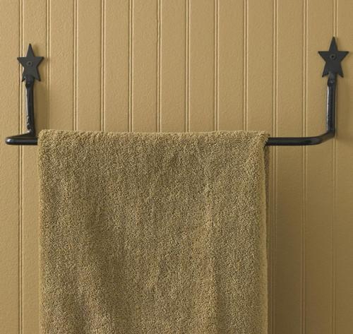 Iron Galvanized Star Towel Bar