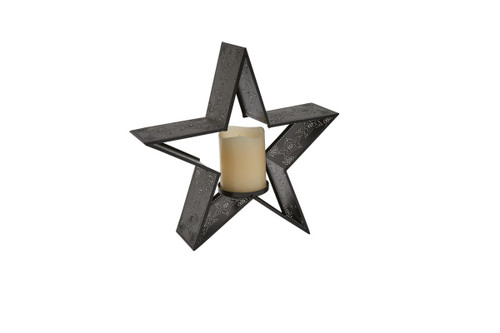Star Punched Candle Pillar Holder