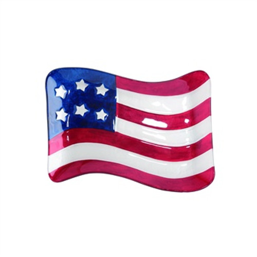 Glass American Flag Plate