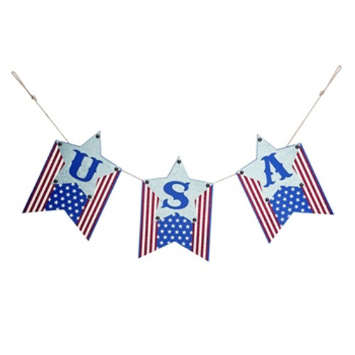 USA Wood Banner with Corrugated Metal