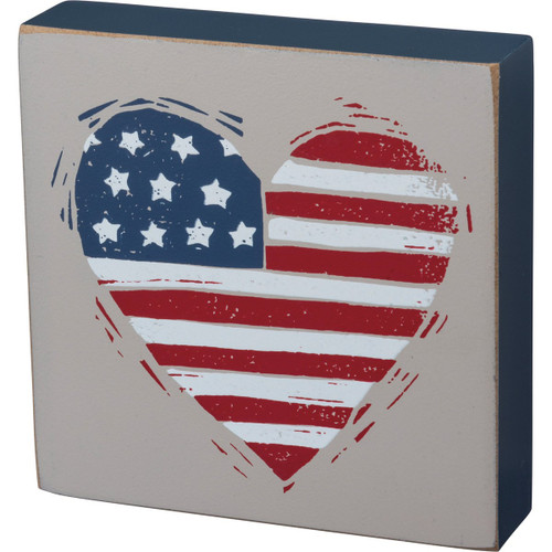Block Sign-Patriotic Heart