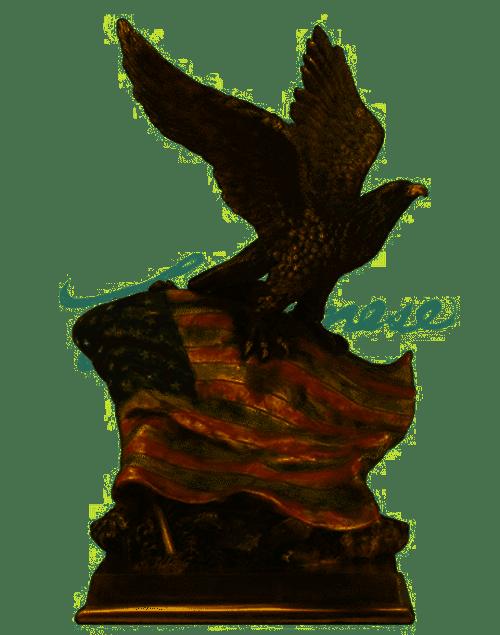 American Pride-Eagle with Flag Statuette