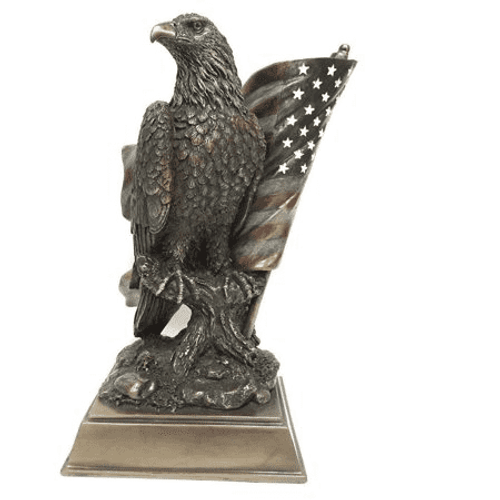 American Pride Eagle Statuette With Flag
