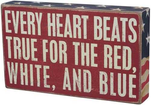 Box Sign - Heart Beat RWB