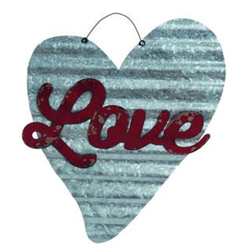 Corrugated metal heart with love