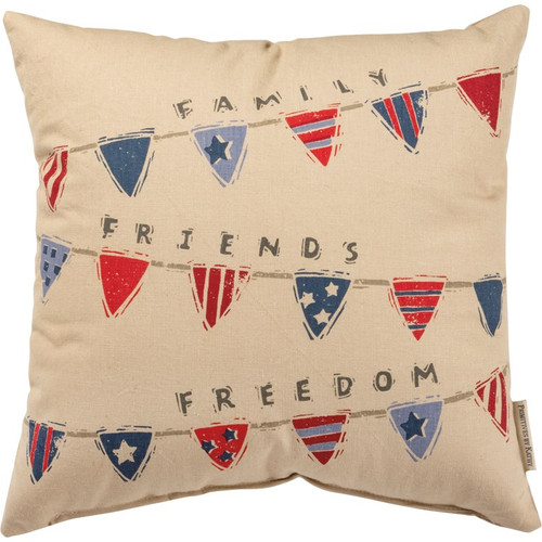 Pillow - Flag Buntings - Family Friends Freedom