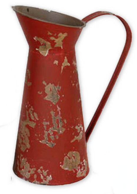Red Tin Water Pitcher