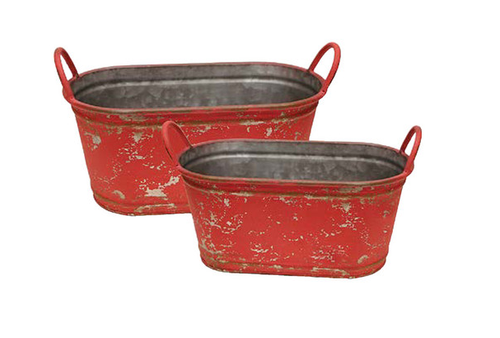 Red Metal Containers-Set of 2