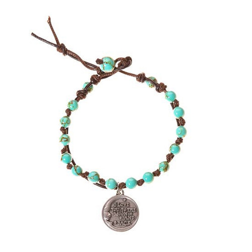 Love You to the Moon and Back Stone Bracelet
