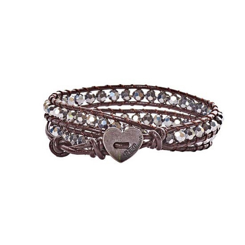 Silver Crystal Leather Bracelet