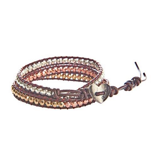 Gold, Silver, Copper Leather Bracelet