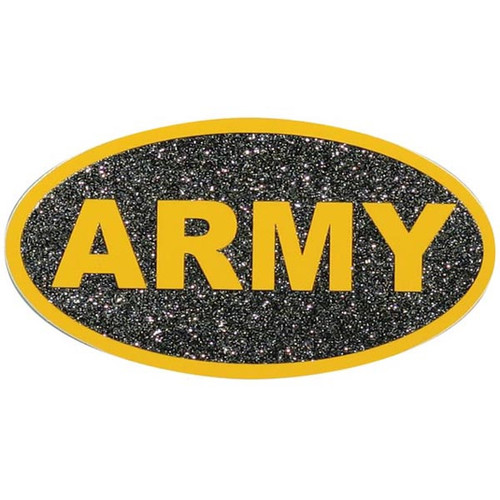 Army oval sticker yellow on black glitter