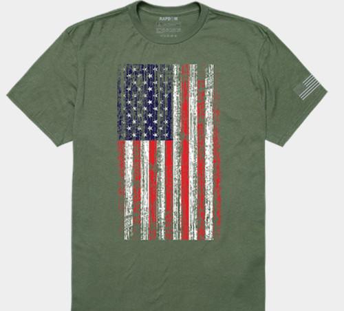 Distressed Flag T-Shirt, Olive