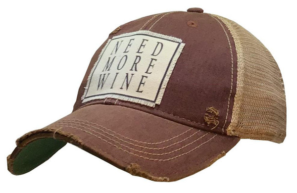 "Distressed Hat - ""Need More Wine"""
