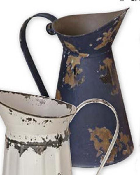 Tin water pitcher - blue