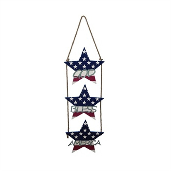 God Bless America Wood Hanging Star