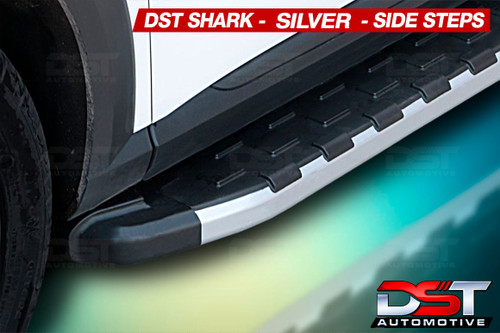 Ford Custom Side Steps Shark WIDE Step 2012-2018-on Silver Edge LWB