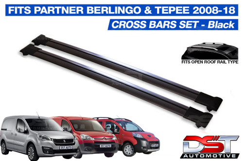Berlingo, Partner & Tepee Roof Rack Cross Bars Set - Black 2008-18