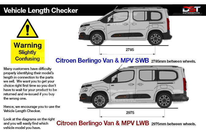 Check the length of your Citroen Berlingo Model with our Length Checker