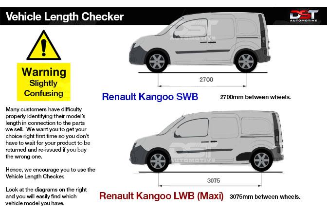 Renault Kangoo Roof Rails Length Checker
