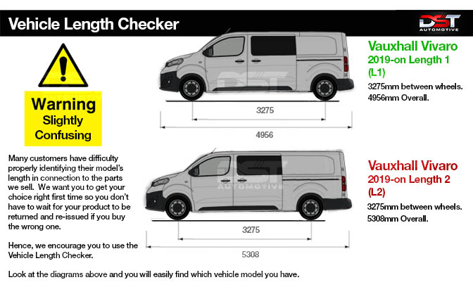 Vauxhall Vivaro Life Roof Rail Length Checker