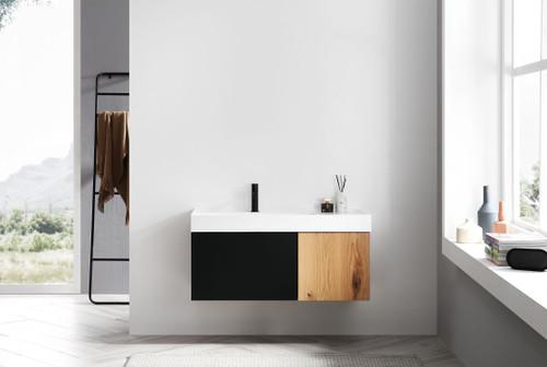 """Anatolli Noir Matte Black panel W/ Maple 42"""" Wall Mount Vanity W/ Single Sink"""