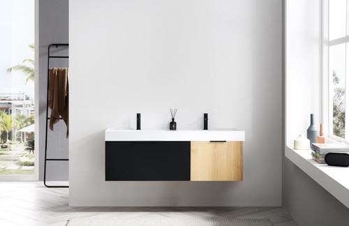 """Anatolli Noir Matte Black Panel W/ Maple 55"""" Wall Mount Vanity W/ Double Sink"""