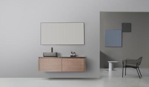 """Atelier Chestnut Oak 60"""" Wall Mount Vanity W/ Single Left Sink"""
