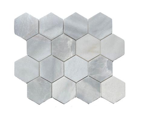 "MOS1026 Ice Onyx Polished Marble 3"" Mosaic Hexagon"