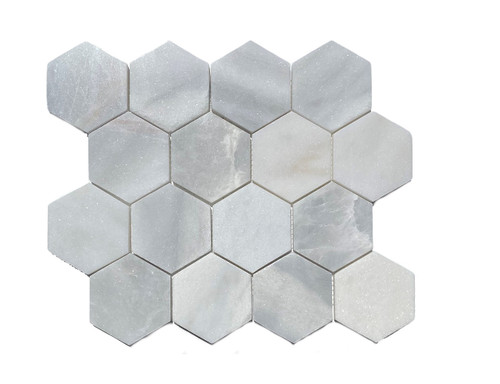"MOS1026 Ice Onyx Polished Marble 3"" Mosaic Hexagon"