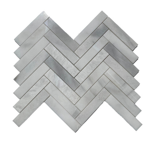 MOS1024 Ice Onyx Polished Marble Herringbone 1.25x6