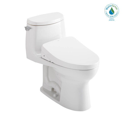 TOTO 1 PC Ultramax II 1G W Washlet S 500E & Aflush 1.28Gpf - Cotton White