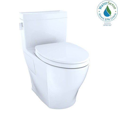 TOTO Legato Washlet + One-Piece Elongated 1.28 GPF Universal Height Skirted Toilet With CEFIONTECT, Cotton White