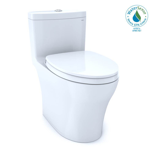 TOTO Aquia IV One-Piece Elongated Dual Flush 1.28 and 0.8 GPF Universal Height, WASHLET + Ready Toilet With CEFIONTECT, Cotton White