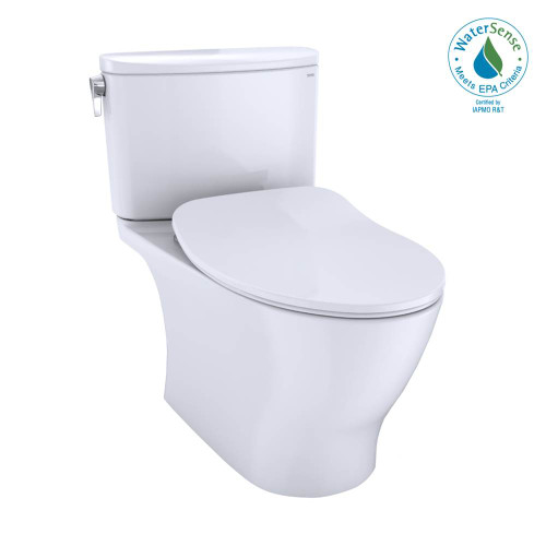 TOTO Nexus Two-Piece Elongated 1.28 GPF Universal Height Toilet With CEFIONTECT and SS234 Soft Close Seat, WASHLET + Ready, Cotton White