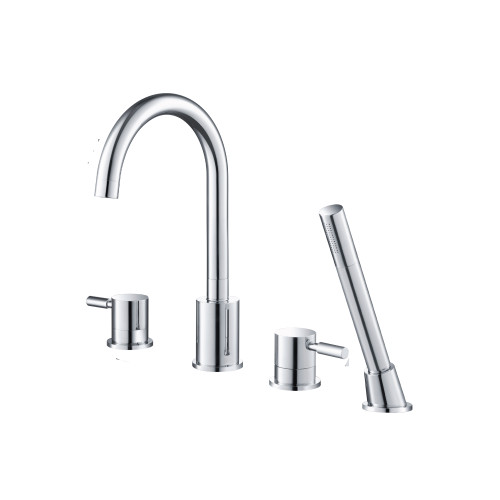4 Hole Deck Mounted Roman Tub Faucet With Hand Shower Polished Chrome 100.2400CP