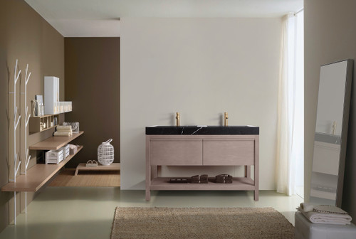 "Noir Grigio Oak 48"" Freestanding Vanity W/ Double Sink"