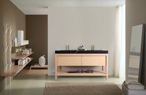 """Noir Naturale Oak 60"""" Freestanding Vanity W/ Double Sink"""