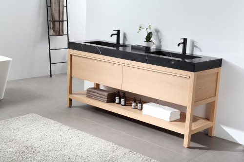 """Noir Naturale Oak 72"""" Freestanding Vanity W/ Double Sink"""