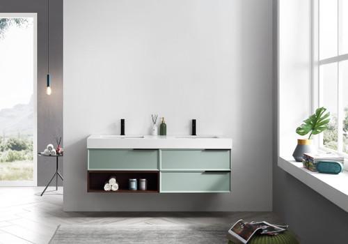 """Vidro Aqua W/ Walnut 60"""" Wall Mount Vanity W/ Double Sink"""