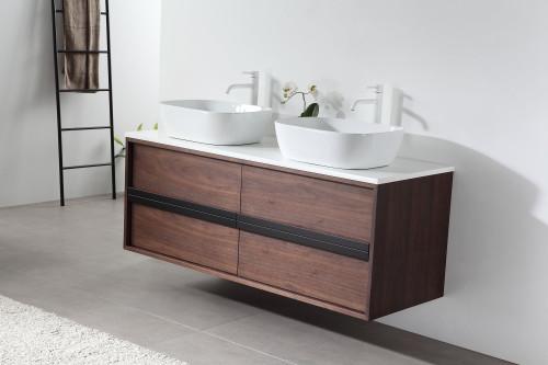 "Synergy Walnut 55"" Wall Mount Vanity W/ Double Sink"